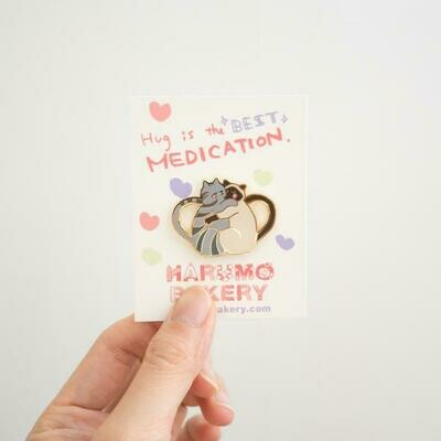 Hug Cats Enamel Pin, Grey & Cream