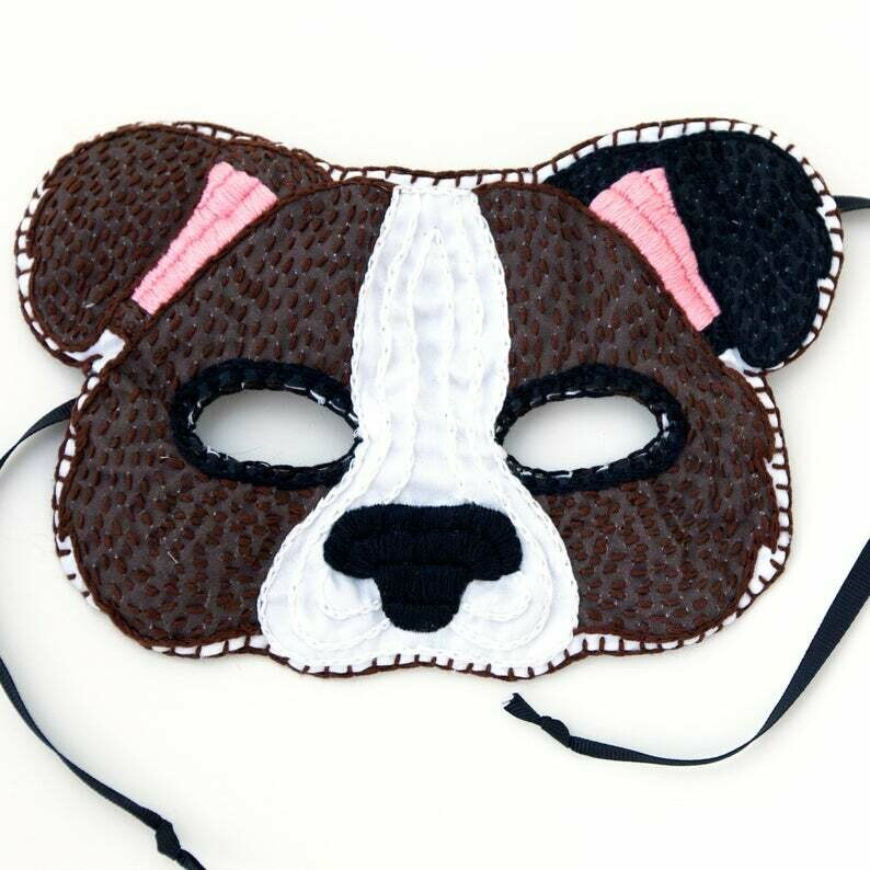 Crafty Creatures Embroidery Kit - Dog Mask Kids