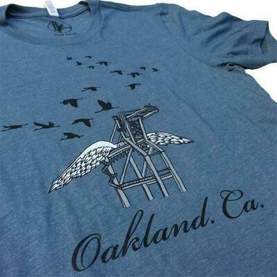 Oakland Crane, Slate Blue, Masculine Tee