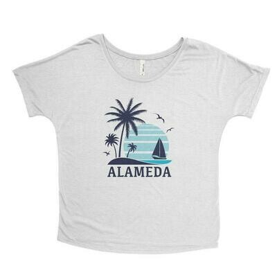 Beach Life Alameda, White Slub - Feminine Flowy Tee