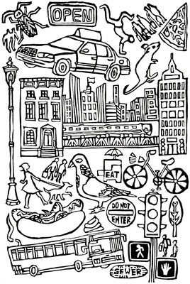 City, DIY Coloring Card