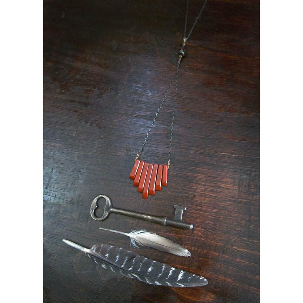 Red Jasper & Smoky Quartz Necklace