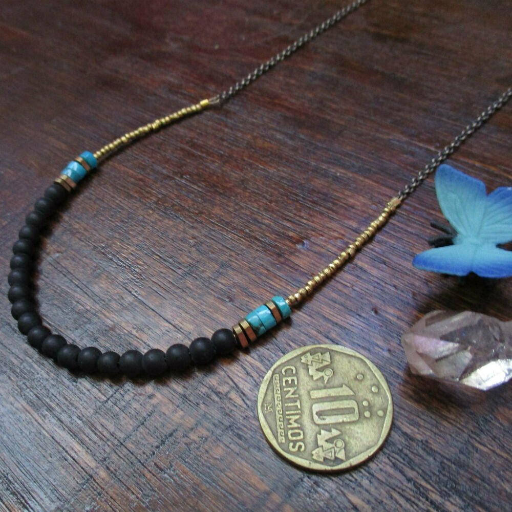 Onyx Necklace w/ Turquoise Accents