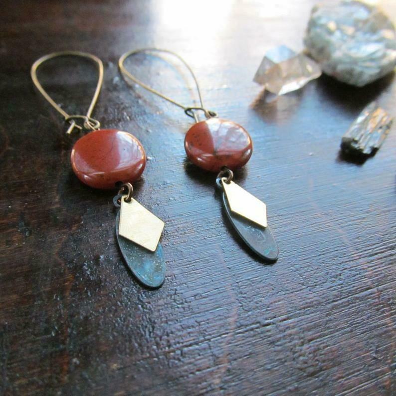 Red Jasper Dangle Earrings (long)