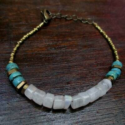 Moonstone Bracelet with Turquoise accents