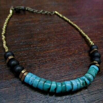 Turquoise Bracelet w/ Onyx Accents