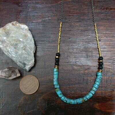 Turquoise Necklace w/ Onyx Accents