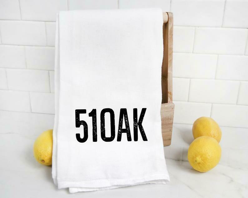 51OAK Tea Towel, White