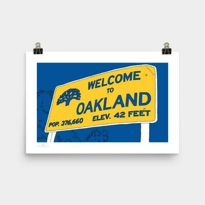 Welcome Oakland Poster, 11 x 17 - Blue & Gold