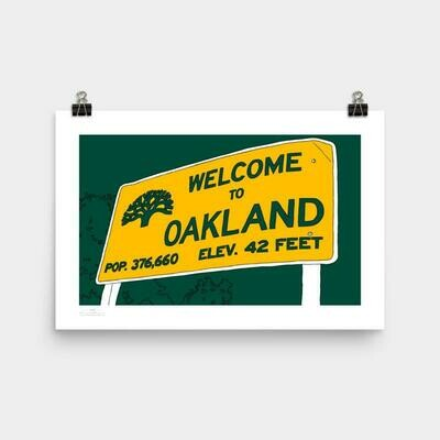 Welcome Oakland Poster, 11 x 17 - Green & Gold
