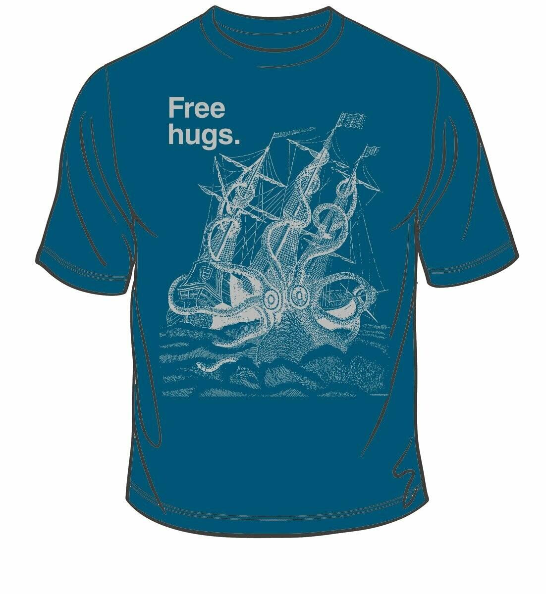 Free Hugs Masculine tee, Indigo