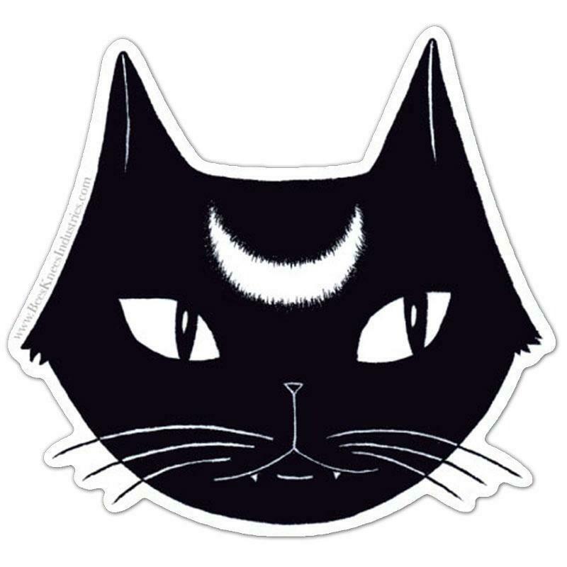 Black Lunar Cat Sticker