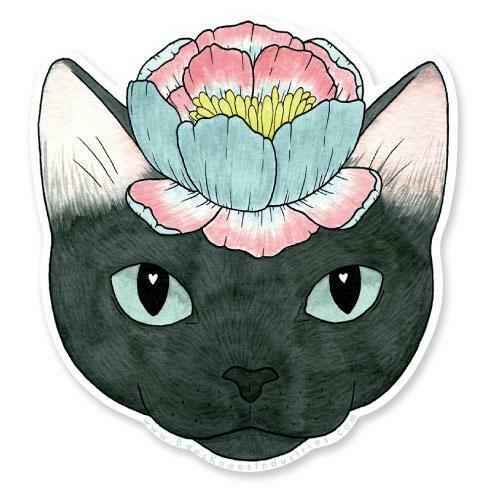 Flower Cat Sticker