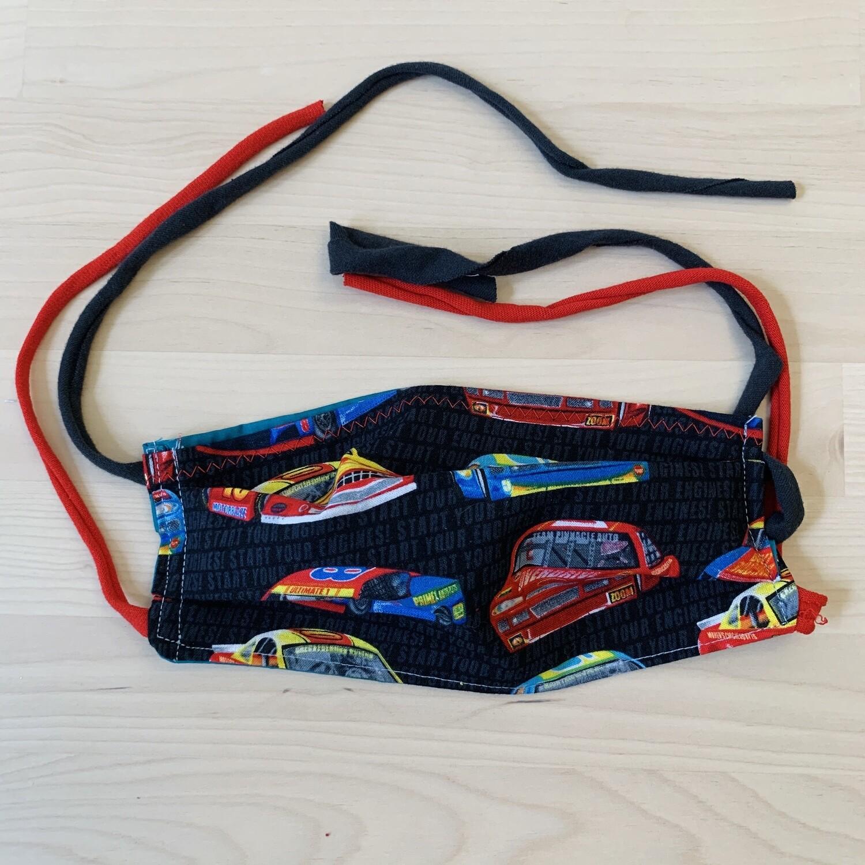 Handmade Mask w/ Pocket, Race Cars