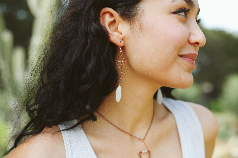White Daisy Diamond Hoop Earrings