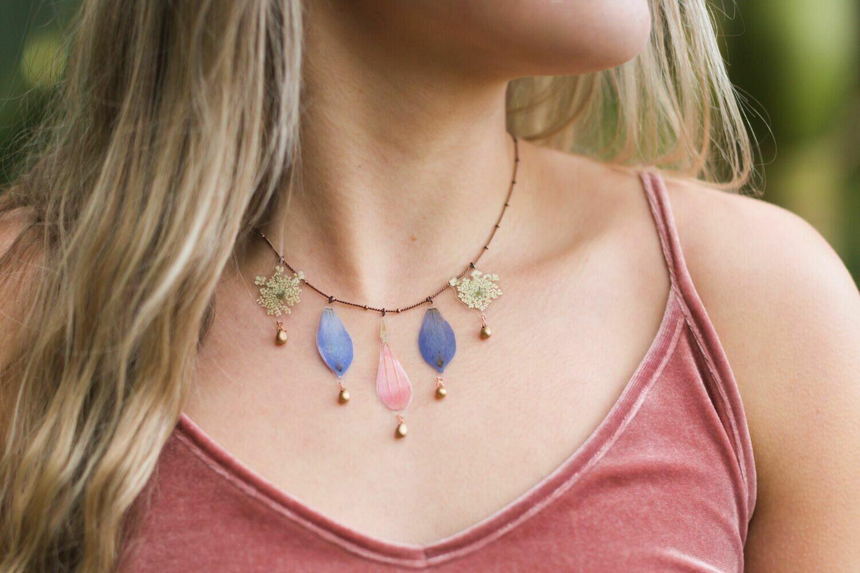 Zinnia + Delphinium + Queen Anne's Lace Bouquet Beaded Necklace