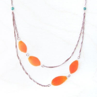 Orange Sun Star Beaded Necklace
