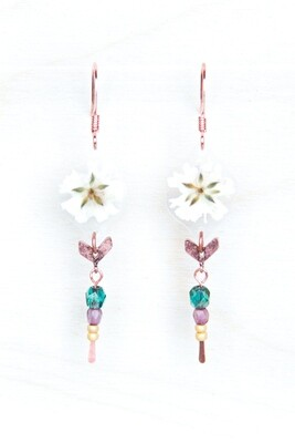 White Baby's Breath Beaded Earrings