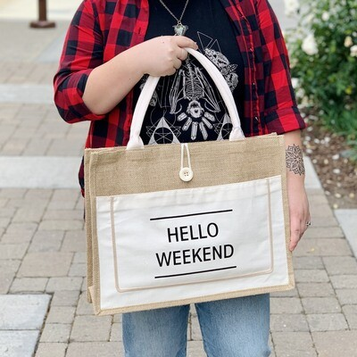 Hello Weekend Jute Tote, White