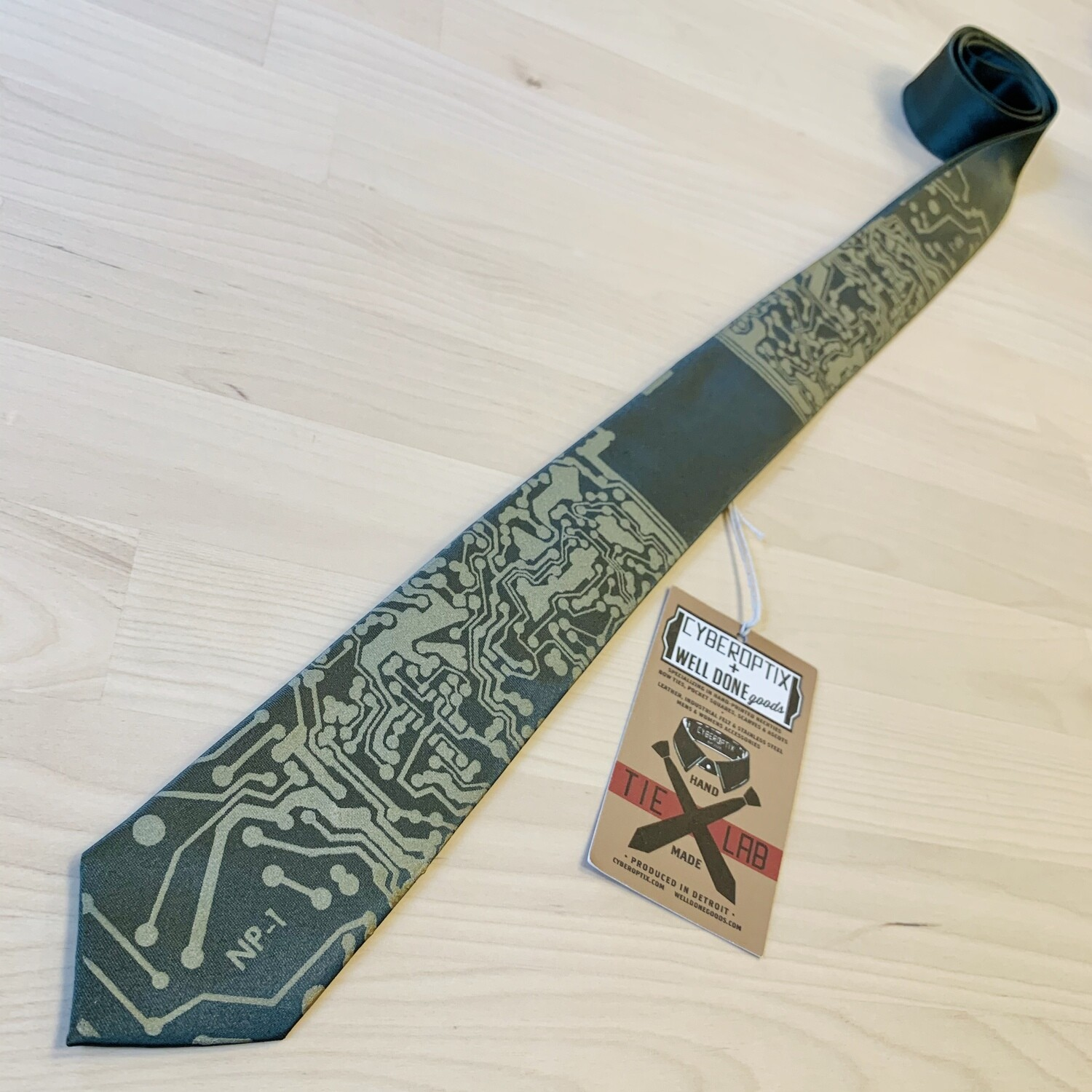 Short Circuit, Antique Brass on Olive - Skinny Tie