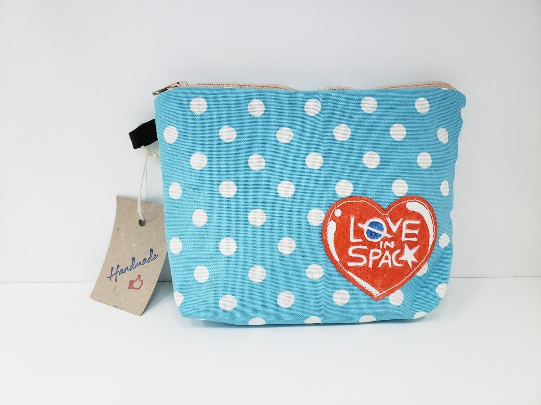Zipper Pouch, Love in Space - Blue