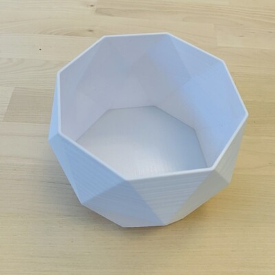 3-D Printed Octagon Bowl, Large - White