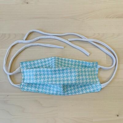 Handmade Mask w/ Pocket, Turquoise Houndstooth