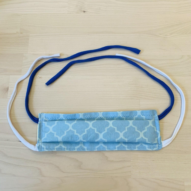 Handmade Mask w/ Pocket, Blue Marquise Damask