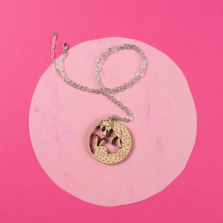 Wood Dog Necklace (sterling)