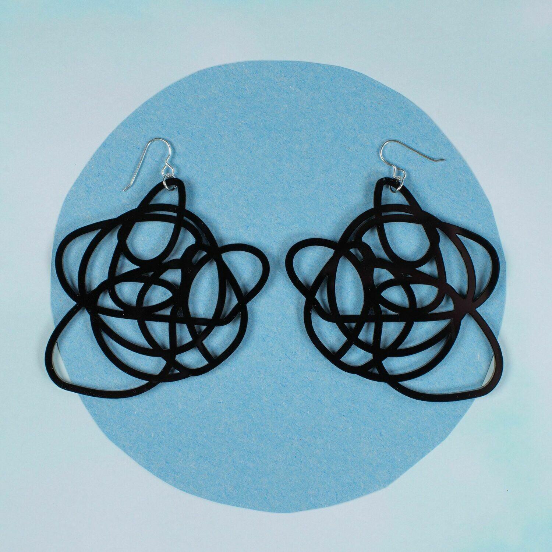 Graffiti Statement Earrings, Black (sterling)