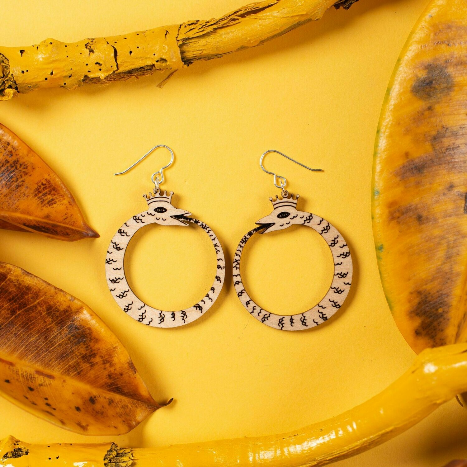 Wood Ouroboros Earrings, Small (sterling)