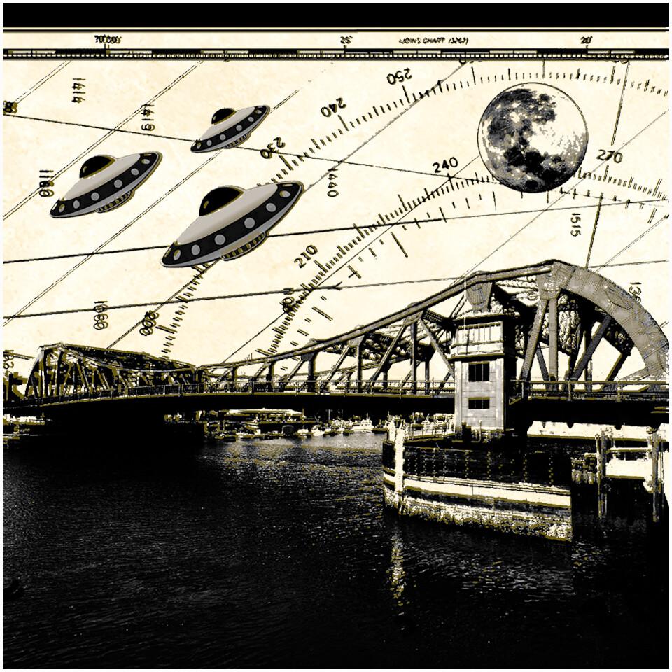Alameda Bridge Sightseers 8x8 Framed v.2