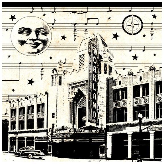 Fox Theatre Moonlight, 8x8 Framed v.2