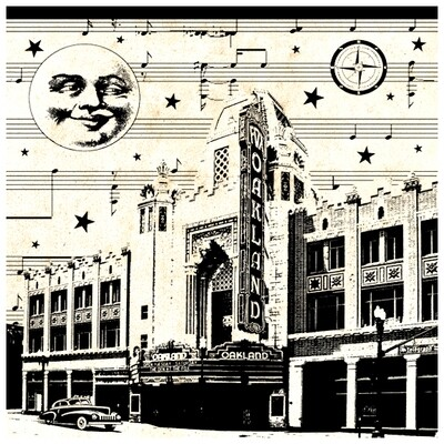Fox Theatre Moonlight, 8x8 Framed v.2