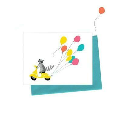 Raccoon On Vespa Birthday Card, Single