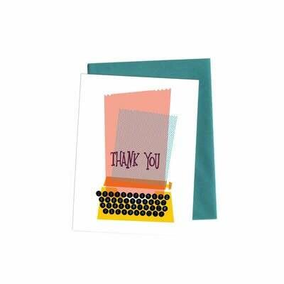 Typewriter Thank You Card, Single