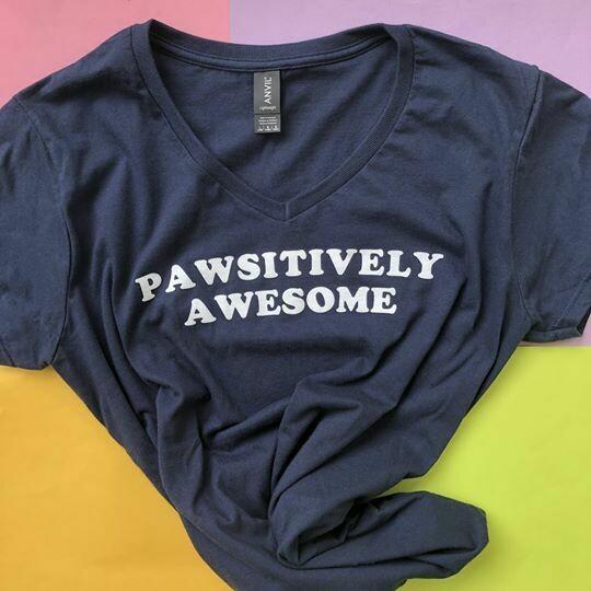 Pawsitively Awesome, Navy - Feminine Tee