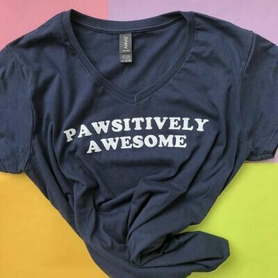 Pawsitively Awesome, Navy - Feminine Tee