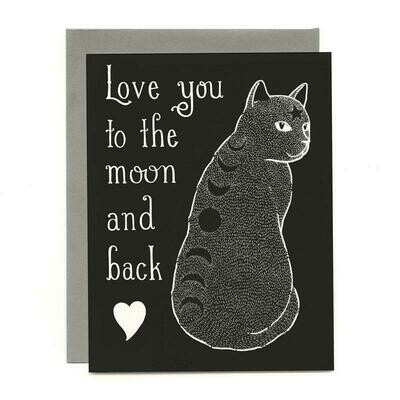 Moon Phase Cat Greeting Card