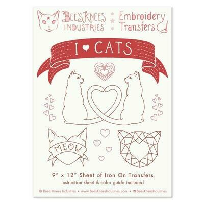 I Heart Cats Embroidery Transfers