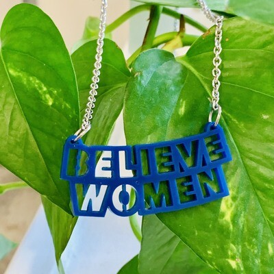 Believe Women Necklace, Blue