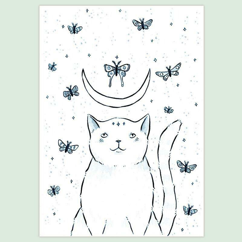 Cat & Moths 5x7 Print