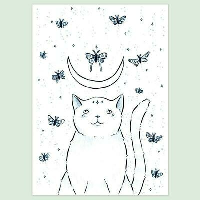 Cat & Moths 5x7 Print