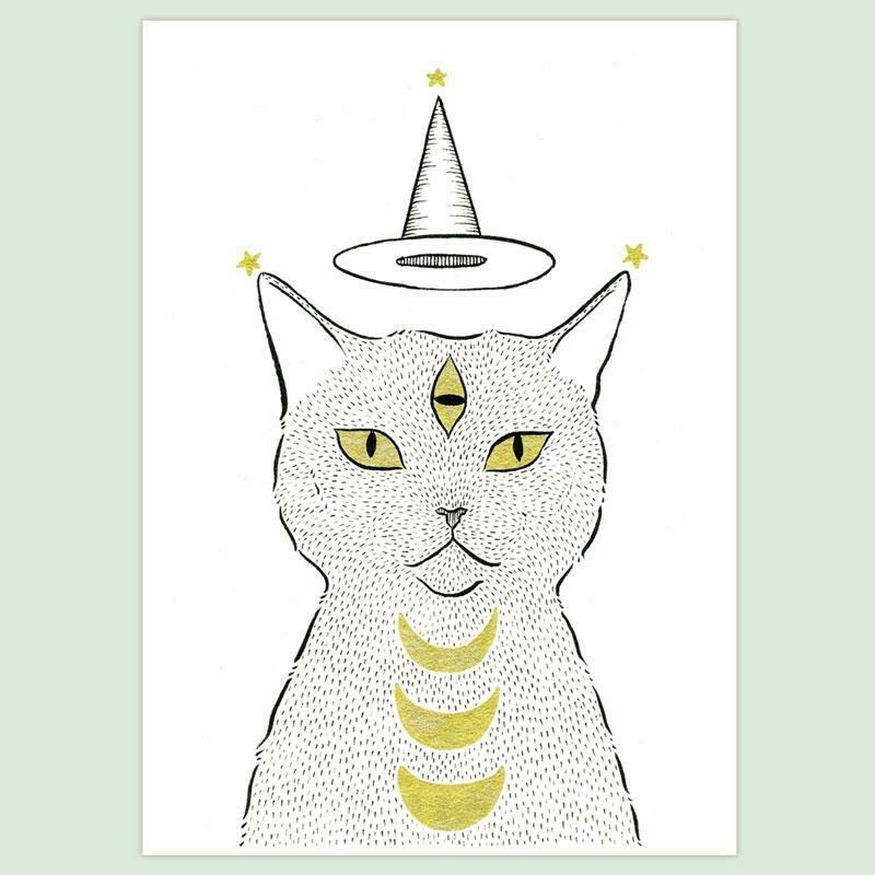 Witch Cat in a Hat 5x7 Print