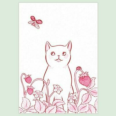 Strawberry Cat 5x7 Print