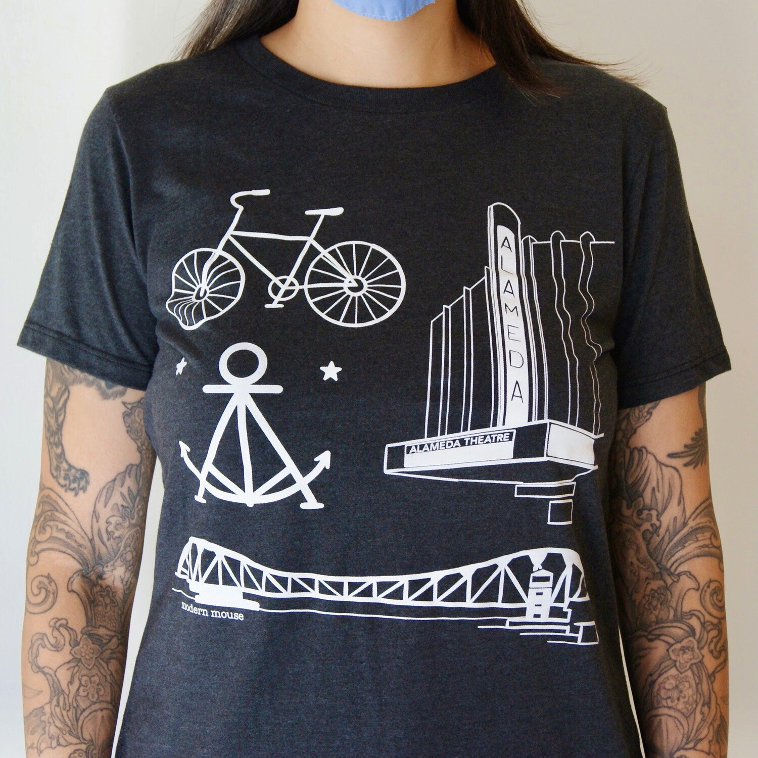 Alameda Collage, Space Black Fem Tee