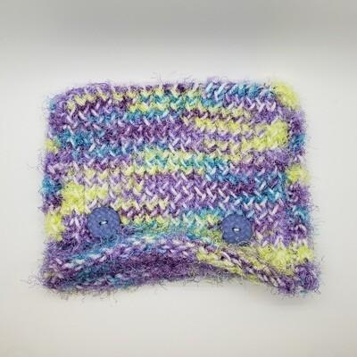 Square Hat, Purple Buttons - Multicolor
