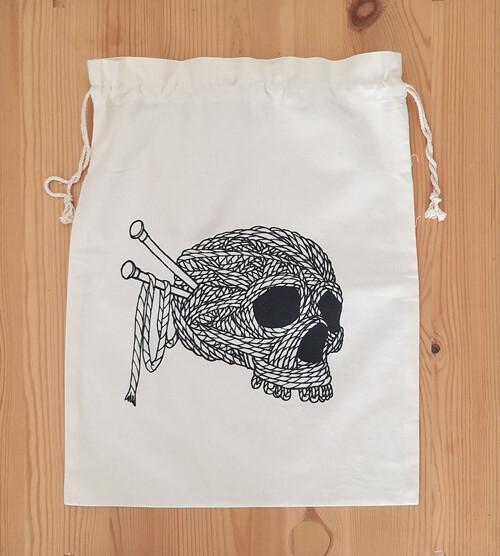 Drawstring Bag, Yarn Skull