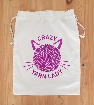 Drawstring Bag, Crazy Yarn Lady