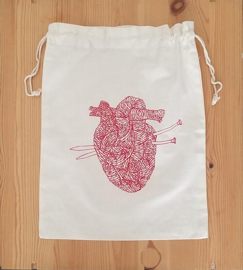 Drawstring Bag, Yarn Heart